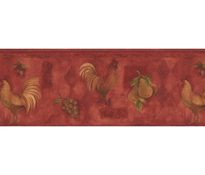 Roosters Wallpaper Borders: Yellow Rooster & Fruits Vintage Wallpaper Border