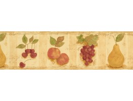 6 1/2 in x 15 ft Prepasted Wallpaper Borders - Cream Cherries Pears Peaches Wall Paper Border