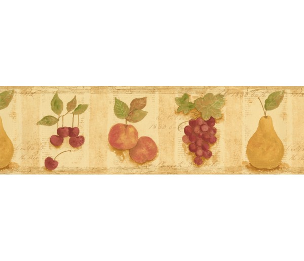 Garden Wallpaper Borders: Cream Cherries Pears Peaches Wallpaper Border