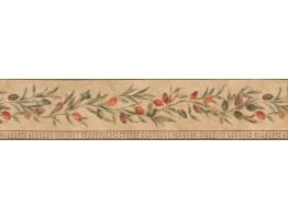 Small Peach Plant Wallpaper Border