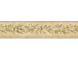 Prepasted Wallpaper Borders - Yellow Seeded White Pattern Wall Paper Border
