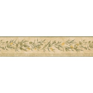 5 in x 15 ft Prepasted Wallpaper Borders - Yellow Seeded White Pattern Wall Paper Border
