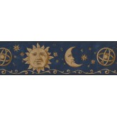 Sun Moon Stars Borders Universe Moon Blue Wallpaper Border York Wallcoverings