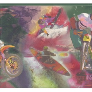 8 1/2 in x 15 ft Prepasted Wallpaper Borders - Green Red Extreme Sports Wall Paper Border
