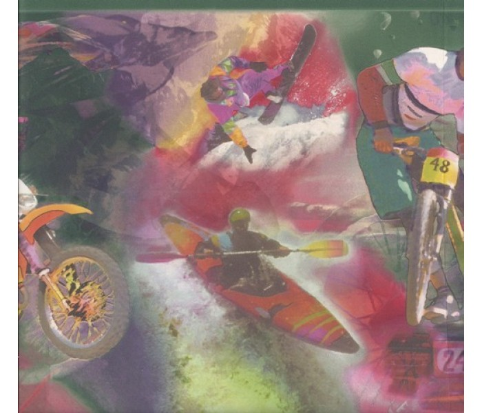 Clearance: Green Red Extreme Sports Wallpaper Border