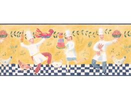 Blue Dancing Chef Wallpaper Border