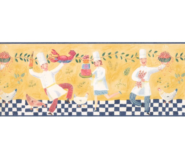 Kitchen Wallpaper Borders: Blue Dancing Chef Wallpaper Border