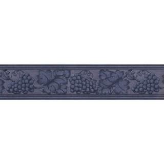 5 in x 15 ft Prepasted Wallpaper Borders - Blue Grape Plant Wall Paper Border