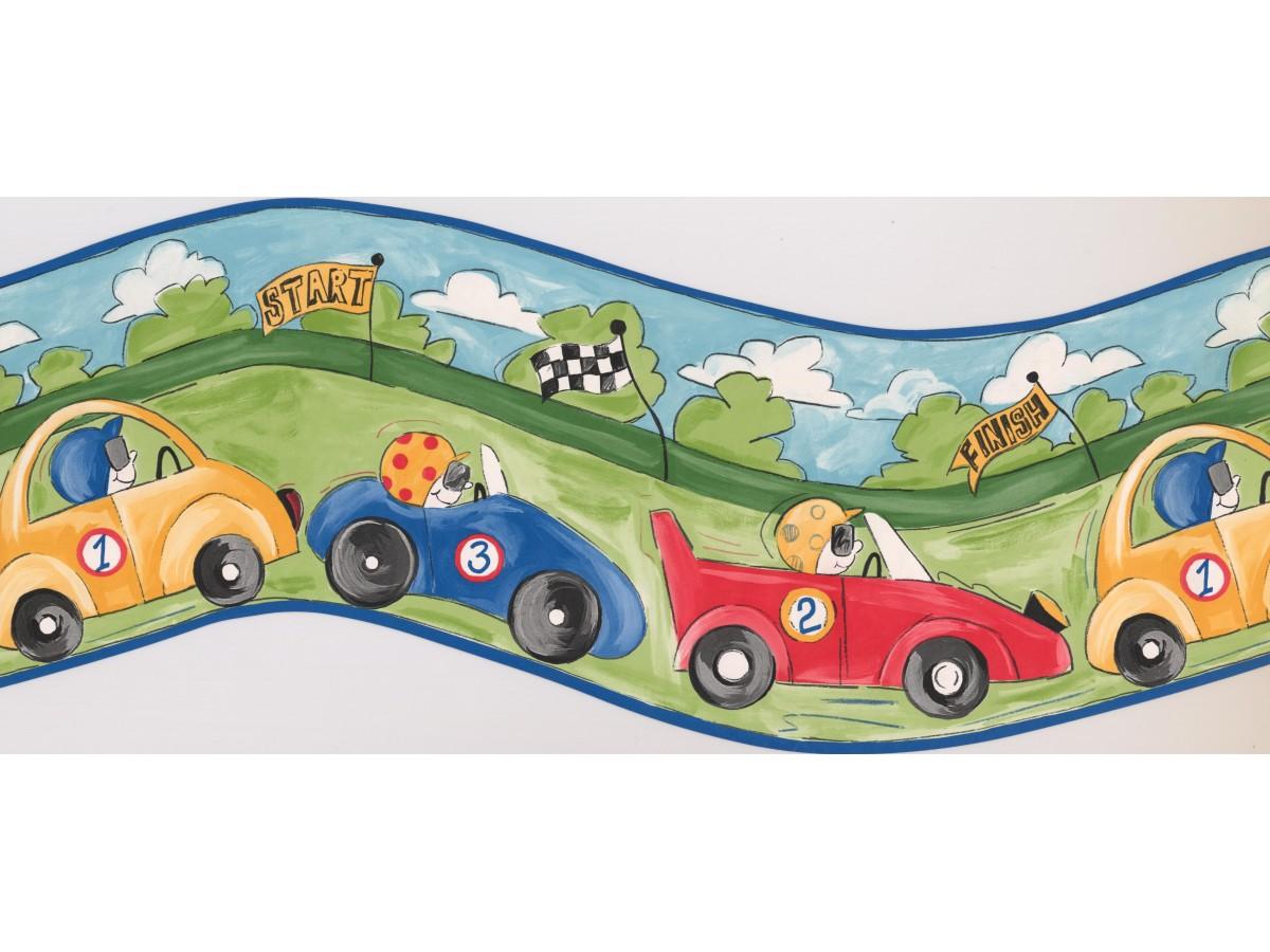 Blue Racing Cars Wallpaper Border