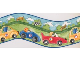 Prepasted Wallpaper Borders - Blue Racing Cars Wall Paper Border
