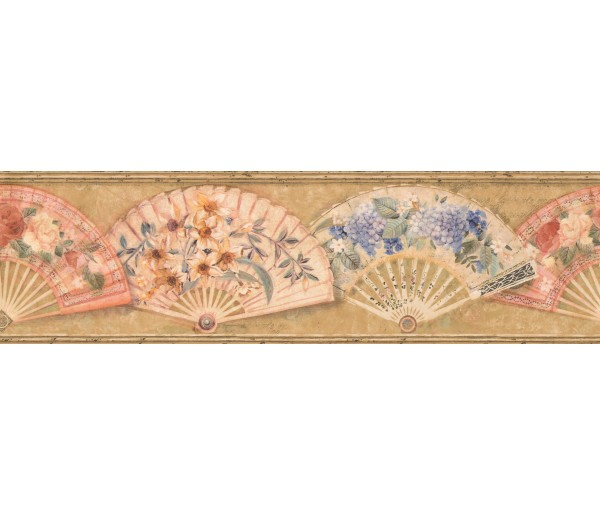 Vintage Wallpaper Borders: Gold Fans and Flowers Wallpaper Border
