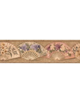 Prepasted Wallpaper Borders - Tan Fans and Flowers Wall Paper Border