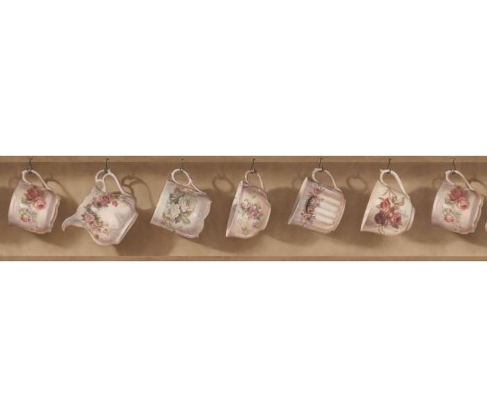 Kitchen Wallpaper Borders: Dark Beige Tea Cup And Pot Wallpaper Border