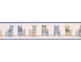 Prepasted Wallpaper Borders - Blue Rocking Chairs Wall Paper Border