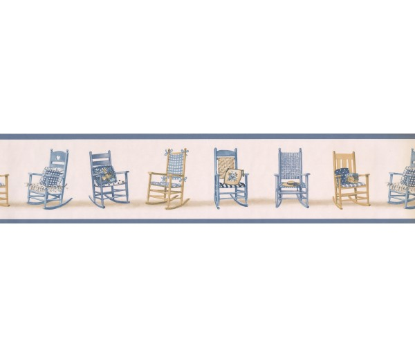 Novelty Borders Blue Rocking Chairs Wallpaper Border