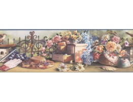 Blue VCB1109B Hat and Gloves Garden Wallpaper Border