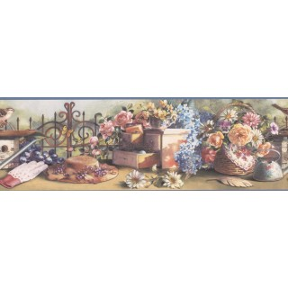 6 3/4 in x 15 ft Prepasted Wallpaper Borders - Blue VCB1109B Hat and Gloves Garden Wall Paper Border