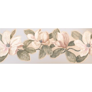 8 1/2 in x 15 ft Prepasted Wallpaper Borders - Floral Wall Paper Border VG8548