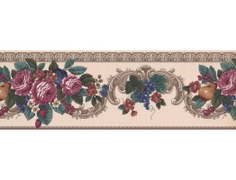 Prepasted Wallpaper Borders - Grape Peach Berry Rose Wall Paper Border