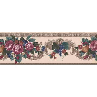 10 in x 15 ft Prepasted Wallpaper Borders - Grape Peach Berry Rose Wall Paper Border