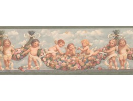 Prepasted Wallpaper Borders - Green Blue Sky Faded Angels Floral Wall Paper Border