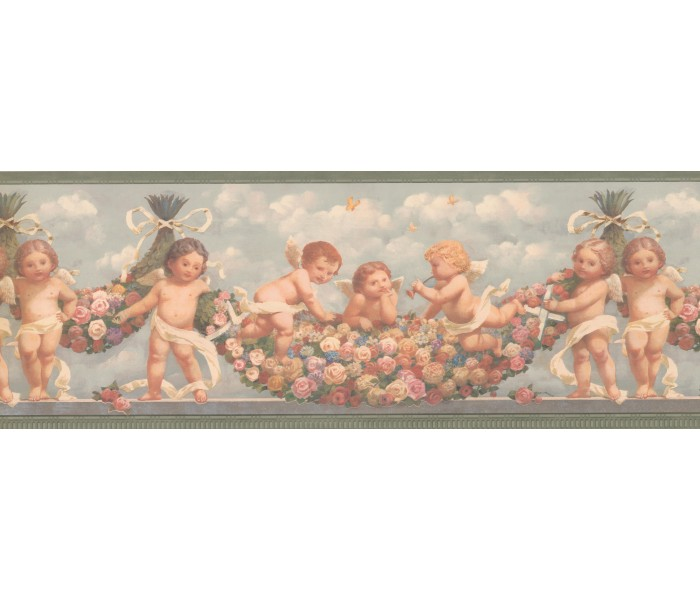 Faith and Angels Wallpaper Borders: Green Blue Sky Faded Angels Floral Wallpaper Border