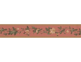 Prepasted Wallpaper Borders - Brown Flower Vine Wall Paper Border
