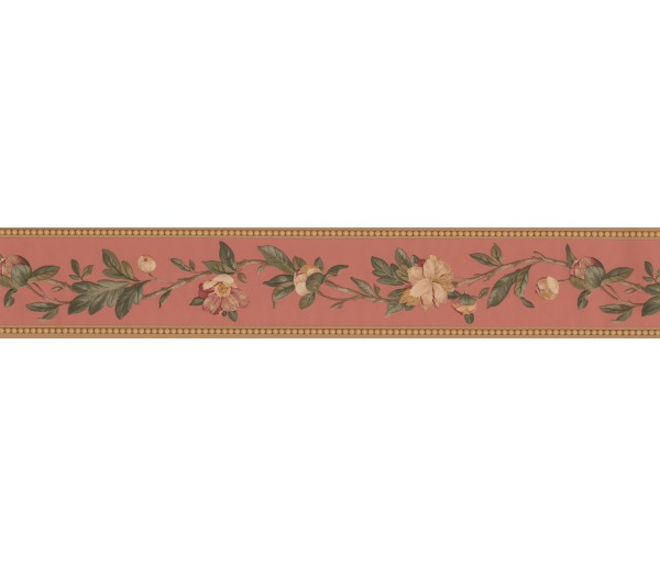 Floral Wallpaper Borders: Brown Flower Vine Wallpaper Border