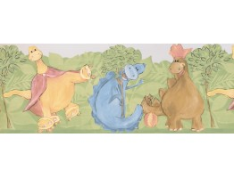 9 in x 15 ft Prepasted Wallpaper Borders - Kids Funny Dino Wall Paper Border