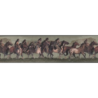 7 in x 15 ft Prepasted Wallpaper Borders - Horses Wall Paper Border WD4164