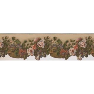 Prepasted Wallpaper Borders - White Rose Flower Basket Wall Paper Border