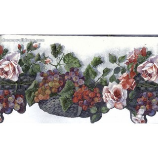 7 in x 15 ft Prepasted Wallpaper Borders - White KITCHEN Die Cut FLOWERS Wall Paper Border