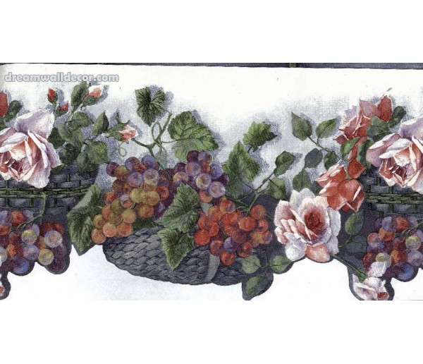 Clearance: White KITCHEN Die Cut FLOWERS Wallpaper Border