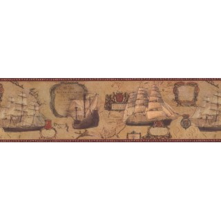 7 in x 15 ft Prepasted Wallpaper Borders - Red Cream Vintage Boats Wall Paper Border