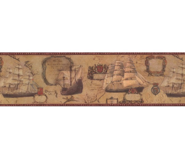 Vintage Wallpaper Borders: Red Cream Vintage Boats Wallpaper Border