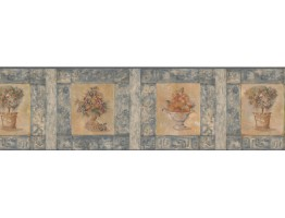Prepasted Wallpaper Borders - Blue Peach Plant Wall Paper Border