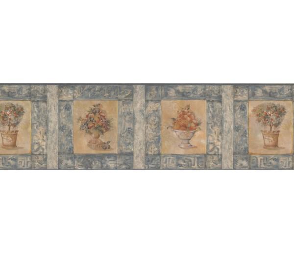 Clearance: Blue Peach Plant Wallpaper Border