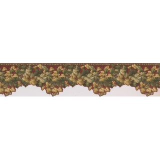 5 in x 15 ft Prepasted Wallpaper Borders - Red Background Palm Green Leaves Wall Paper Border