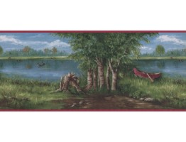 Prepasted Wallpaper Borders - Lake Boat scenery Wall Paper Border