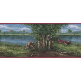 10 in x 15 ft Prepasted Wallpaper Borders - Lake Boat scenery Wall Paper Border