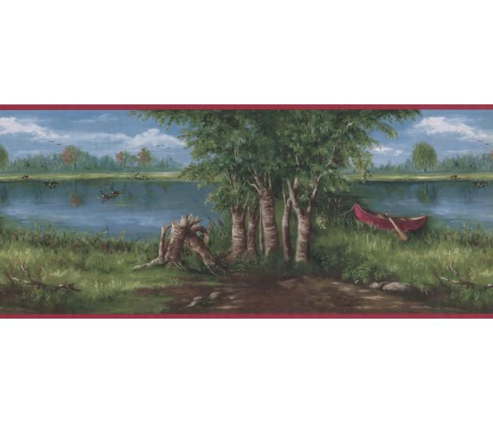 Landscape Wallpaper Borders: Lake Boat scenery Wallpaper Border