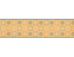 6 in x 15 ft Prepasted Wallpaper Borders - Orange Square Circle Design Wall Paper Border