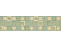 6 in x 15 ft Prepasted Wallpaper Borders - Green Square Circle Design Wall Paper Border