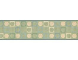 Prepasted Wallpaper Borders - Green Square Circle Design Wall Paper Border