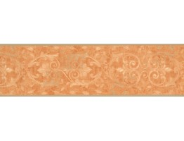 Orange Running Floral Wallpaper Border