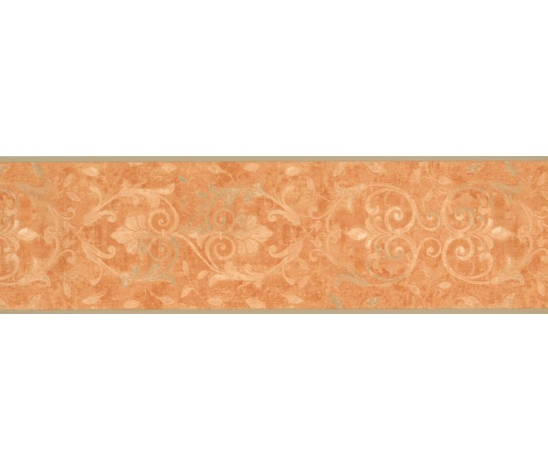 Vintage Borders Orange Running Floral Wallpaper Border York Wallcoverings