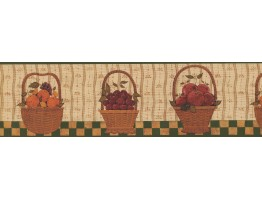 Prepasted Wallpaper Borders - Berries Fruit Basket Wall Paper Border