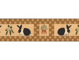 Black Orange Beige Wooden Rabbit Vegetables Wallpaper Border