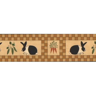6 1/2 in x 15 ft Prepasted Wallpaper Borders - Black Orange Beige Wooden Rabbit Vegetables Wall Paper Border