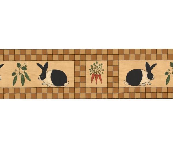 Clearance: Black Orange Beige Wooden Rabbit Vegetables Wallpaper Border